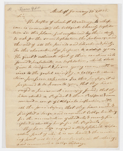 Zephaniah Swift Moore and Samuel Fowler Dickinson letter to Justin Ely, 1822 January 30