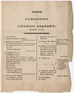 Amherst Academy exhibition program, 1823 August 14