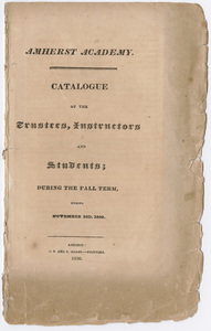 Amherst Academy catalog, 1830 fall term