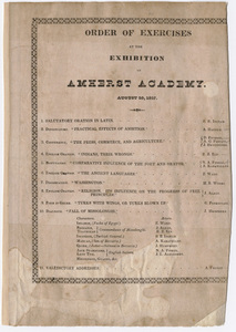 Amherst Academy exhibition program, 1827 August 20