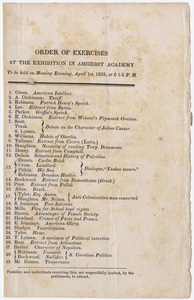 Amherst Academy exhibition program, 1833 April 1