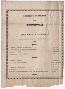 Amherst Academy exhibition program, 1829 August 24