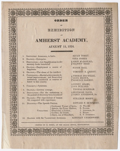 Amherst Academy exhibition program, 1824 August 11