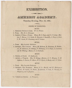 Amherst Academy exhibition program, 1821 November 15