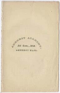 Amherst Academy catalog, 1848 fall term
