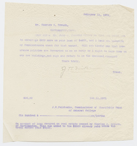 Copy of Joseph Whitcomb Fairbanks letter to Charles S. Crouch, 1901 February 11