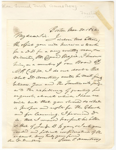 Samuel Turell Armstrong letter to Heman Humphrey, 1842 March 30
