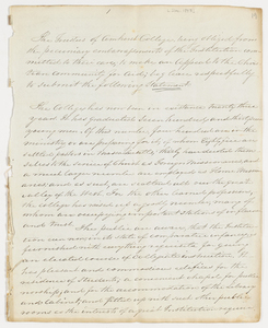 Draft of Amherst College Board of Trustees circular and Joseph Vaill form letter, 1843 December