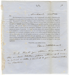 Edward Hitchcock letter regarding a Memorial to the legislature, 1848 January 6