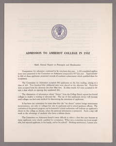 Amherst College annual report to secondary schools and report on admission to Amherst College, 1952