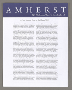Amherst College annual report to secondary schools, 2005
