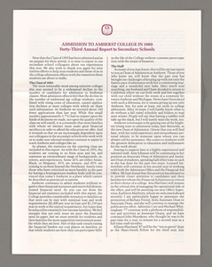Amherst College annual report to secondary schools, 1989