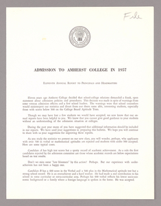 Amherst College annual report to secondary schools and report on admission to Amherst College, 1957