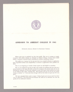 Amherst College annual report to secondary schools and report on admission to Amherst College, 1961