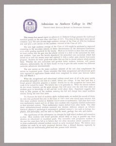 Amherst College annual report to secondary schools and information for applicants for admission, 1967