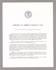Amherst College annual report to secondary schools and report on admission to Amherst College, 1956