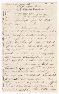 Sidney Brooks letter to Harriet Newell (Brooks), 1864 July 22