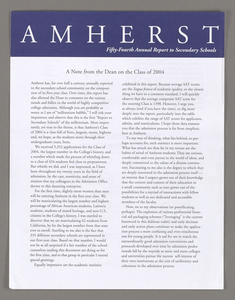 Amherst College annual report to secondary schools, 2000