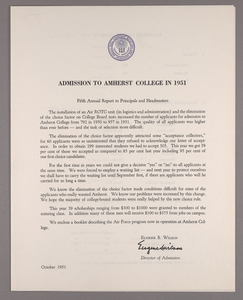 Amherst College annual report to secondary schools and report on admission to Amherst College, 1951