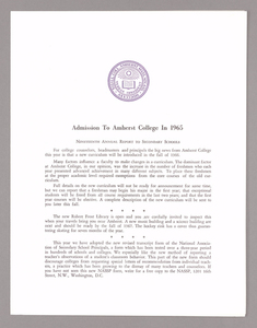 Amherst College annual report to secondary schools, report on admission to Amherst College, and information for applicants for admission, 1965
