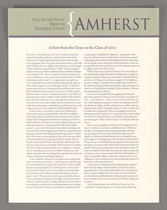 Amherst College annual report to secondary schools, 2008