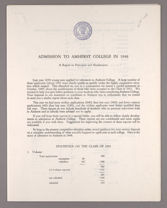 Amherst College annual report to secondary schools and report on admission to Amherst College, 1948