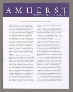 Amherst College annual report to secondary schools, 2001