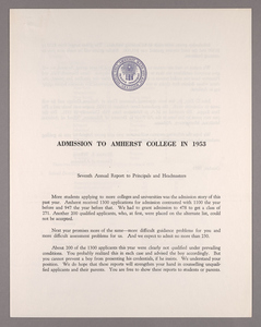 Amherst College annual report to secondary schools and report on admission to Amherst College, 1953