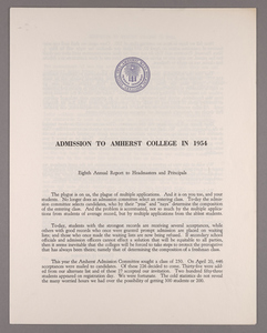 Amherst College annual report to secondary schools and report on admission to Amherst College, 1954