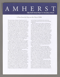 Amherst College annual report to secondary schools, 2002
