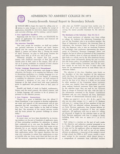 Amherst College annual report to secondary schools, 1973