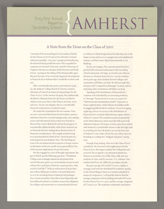 Amherst College annual report to secondary schools, 2007