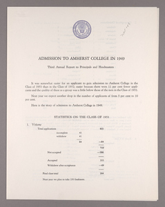 Amherst College annual report to secondary schools and report on admission to Amherst College, 1949