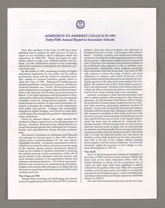 Amherst College annual report to secondary schools, 1991