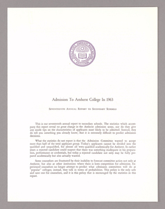Amherst College annual report to secondary schools and report on admission to Amherst College, 1963