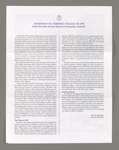 Amherst College annual report to secondary schools, 1993