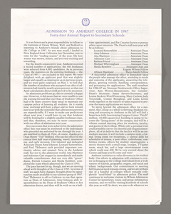 Amherst College annual report to secondary schools, 1987