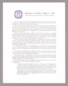 Amherst College annual report to secondary schools and information for applicants for admission, 1968