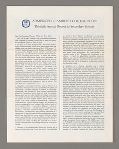 Amherst College annual report to secondary schools, 1976