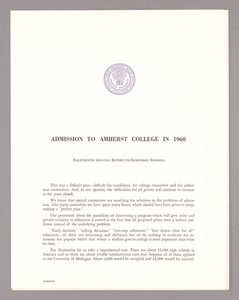 Amherst College annual report to secondary schools and report on admission to Amherst College, 1960