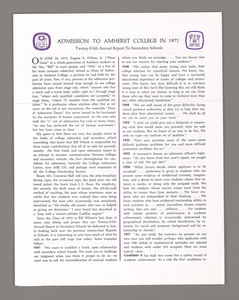 Amherst College annual report to secondary schools, 1971