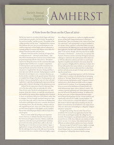 Amherst College annual report to secondary schools, 2006