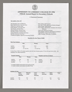Amherst College annual report to secondary schools, 1996