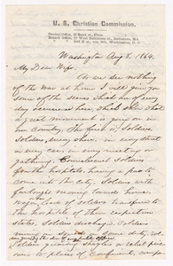 Sidney Brooks letter to Susan Brooks, 1864 August 8 and 10