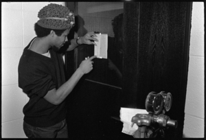 Photographs of students in a lab and in the gym, 1972 October