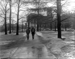 Photographs of students outside on campus, 1973 March