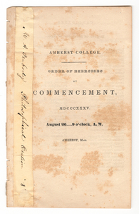Amherst College Commencement program, 1835 August 26