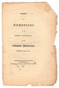 Amherst College Commencement program, 1823 August 27