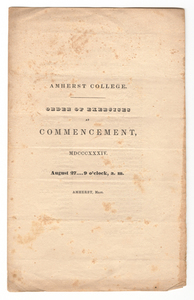 Amherst College Commencement program, 1834 August 27