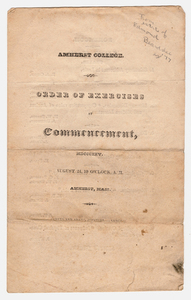 Amherst College Commencement program, 1825 August 24